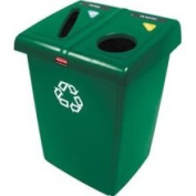 Rubbermaid Commercial 1792340 Glutton Recycling Station, 2-Stream, 174.1l, Green