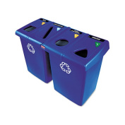 Rubbermaid 1792372 Glutton 4-Stream Recycling Station Blu