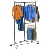 Honey-Can-Do Garment Racks Dual Bar Adjustable Steel Rolling Garment Rack in Chrome GAR-01702