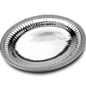 Wilton Armetale Flutes and Pearls Medium Oval Tray