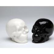 Black & White Skull Salt & Pepper Shakers, 6.4cm H