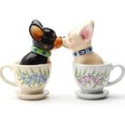 Pacific Trading Tea Cup Pups Magnetic Salt Pepper Shaker Set S/P