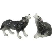 Howling Wolf Wild Animals Salt Pepper Shakers S/P Set Andrea by Sadek