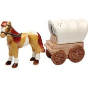 Stealstreet 7.6cm Stallion and Covered Waggon Matching Salt and Pepper Shakers