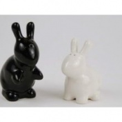 Bunny Rabbit Salt Pepper Shaker Set Black and White by 180 Degrees