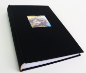 Deluxe Cloth Fabric Photo Album 4x6 300 Plastic Slip-In Pockets with Memo Space and Front Cover Frame. Deep Black