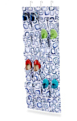 Honey-Can-Do SFT-01561 24-Pocket Over-The-Door Shoe Organizer - Blue And White