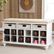 sei Kelly White Entryway Bench