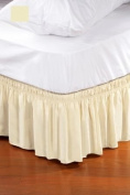 Wrap Around Style Easy Fit Elastic Bed Ruffles for Queen-King Sized Beds