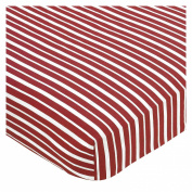 JoJo Designs Vintage Aviator Aeroplane - Red Stripe Crib Sheet