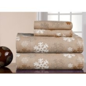Pointehaven Heavy Weight Printed Flannel Sheet Set in Snow Flakes Size