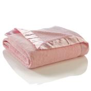 Elegant Baby Ultra Plush Blanket, Satin Border Blanket 90cm x 110cm in Pastel Pink