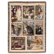 Manual Woodworkers & Weavers Kitty Corner Cat Tapestry Throw Blanket
