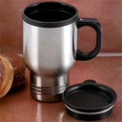 Maxam 14oz Stainless Steel Travel Mug with an insulated plastic liner and double wall syst