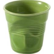 Revol 640680 - 180ml Porcelain Crumpled Cappuccino Tumbler, Lime Gre