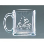 Louisville Cardinals 380ml Deep Etched Clear Glass Coffee and Tea Mug Campus Crystal