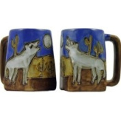 Creative Structures One 1 Mara Stoneware Collection - 350ml Coffee Cup Collectible Square Bottom Mug - Howling Wolves / Desert Design