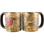 Creative Structures One 1 Mara Stoneware Collection - 470ml Coffee/Tea Cup Collectible Dinner Mugs - Hummingbird Flower Design