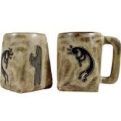 Creative Structures Set of Two 2 Mara Stoneware Collection - 350ml Coffee Cup Collectible Square Mugs - Native American Kokopelli