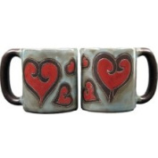 Creative Structures Set of Two 2 Mara Stoneware Collection - 470ml Coffee Cup Collectible Dinner Mugs - Heart Design