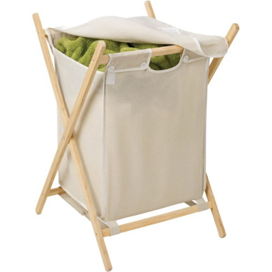 Honey Can Do Folding Laundry Hamper with Removable Bag, Natural