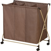 Household Essentials Rolling Triple Sorter Laundry Hamper with Mocha Polyester Bag, Almond Finish Frame