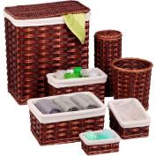 Honey-Can-Do HMP-01866 7-Piece Wicker Hamper and Bath Set