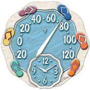Symmetry 91620 Sandal Design Thermometer with Clock, 30.5cm .