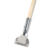 "Clip-On Dust Mop Handle, Lacquered Wood, Swivel Head, 1"" Dia. x 60in Long"