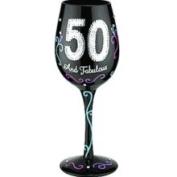 Bottom's Up 440ml 50 and Fabulous Handpainted Wine Glass