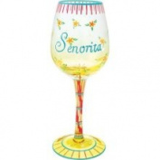 Stealstreet Senorita Inscription Wine Glass with Flowers Design Elegant Pattern