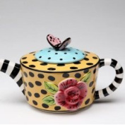 Stealstreet 10.2cm Lady Lux Yellow and Black Leopard Print and Pink Rose Teapot