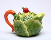 Stealstreet 470ml Porcelain Cabbage Teapot with Red Radish Knob on Lid Handle