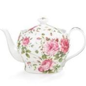 Saddlebrooke Porcelain Pink Rose Teapot with Gold Accents