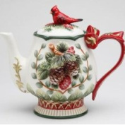 Stealstreet Elegant Evergreen Holiday Teapot with Red Cardinal on Top Collectible