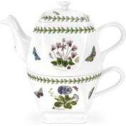 Portmeirion Botanic Garden Square Individual Teapot w/Square Cup Set