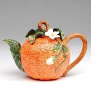 Stealstreet Orange-shaped Teapot with White Orange Blossom Top and Leaf Spout