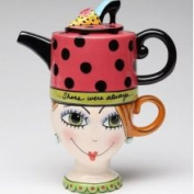 Stealstreet 16.5cm Shoes on Her Mind Teapot and Lady Head Cup Tea for One Set