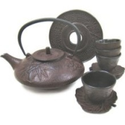 Japanese 1180ml Red Brown Tetsubin with 4 Cups and Saucers