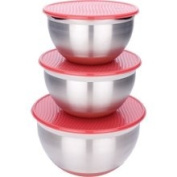 Miu France 3481 Stainless Steel / Silicone Red Lidded Mixing BowlsS/3