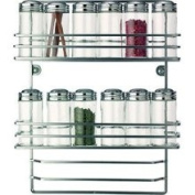 RSVP Wall Hanging Chrome Spice Rack and Glass Bottles