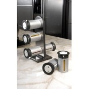 Zevro Zero Gravity Magnetic Spice Rack Stand - 6 Silver Canisters