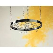 Round Pot Rack with Grid - Black with Chrome Accents