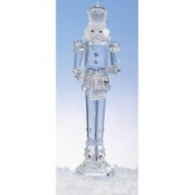 29.8cm Icy Crystal Nutcracker Holding Drum Christmas Figure Decoration