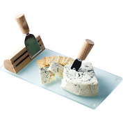Picnic Plus PSM-151 Geneva Cheese Board- Wood-Glass