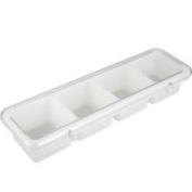Winco BC-4P - 4-Compartment Bar Caddy w/ Cover, White