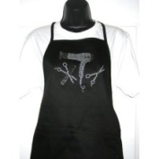 Classic Black Apron - Hair Stylist Tools Rhinestone Two Pocket Poly Cotton Blend Apron