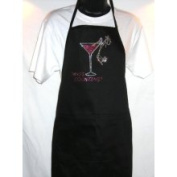 Classic Black Apron Whos Counting Rhinestone Two Pocket Poly Cotton Blend Cocktail Apron