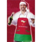 "Fun & Festive ""Kiss The Bartender"" Adult Christmas Apron & Hat Set"