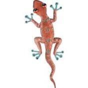 Tropical Rainforest Coppery Gecko Lizard Metal Wall Art Decor